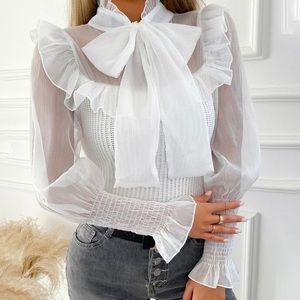White Knitted Chiffon Bow Ruffled Blouse